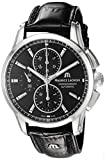 Maurice Lacroix Men's 'Pontos' Swiss Automatic Stainless Steel and Leather Casual Watch, Color:Black (Model: PT6388-SS001-330-1)