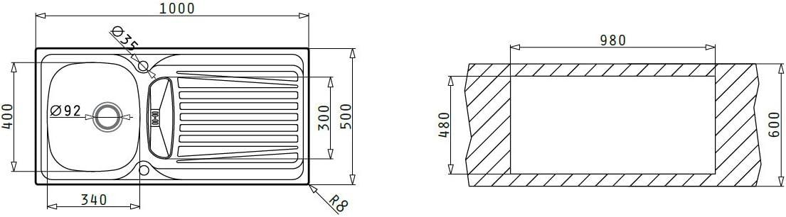 100133112 Pyramis 100133212 Sparta /Évier en acier inoxydable 100 x 50 cm