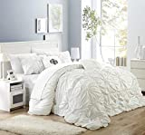 King Size Bedding and Curtain Sets Chic Home Halpert 6 Piece Comforter Set Floral Pinch Pleated Ruffled Designer Embellished Bed Skirt, King, White