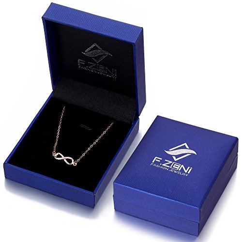 F.ZENI Women Necklace Infinity Forever Love 925 Sterling Silver 18K Yellow Gold Rose Gold plated Pendant Delicate Choker for Women Girls with Gift Box 16''-18'' by F.ZENI (Image #6)