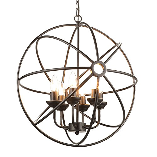 CO-Z 6-Light Oil Rubbed Bronze Industrial Chandelier, Six-Light Rustic Sphere Pendant Chandelier Lighting, Orb Hanging Ceiling Light Fixture for (Bronze Dining Room Table)
