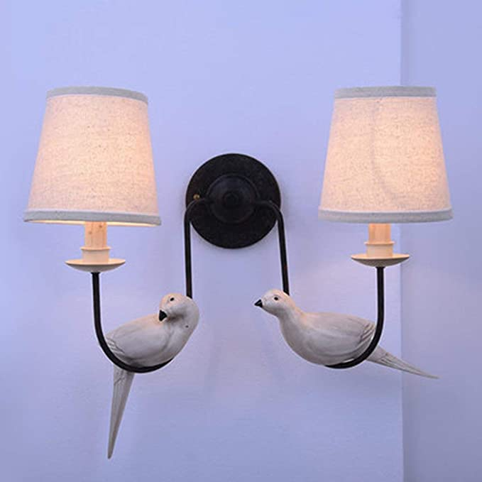 nouler Lámpara de Pared pequeña Vintage de Rollos en Caliente Cuidado Pastoral Salón Dormitorio Noche Casa de Campo Aves