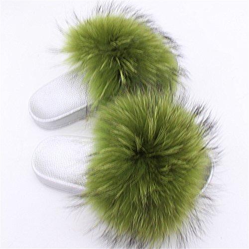 Toe Real Silver Open Women's Fur green Raccon qmfur Slide Slippers Eq1PwHf