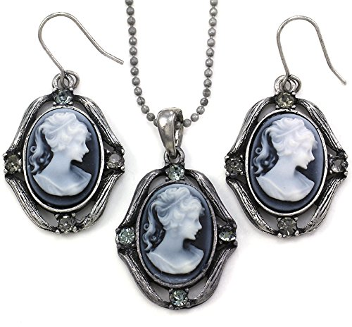 Cameo Set Earrings (Gray Cameo Necklace Pendant Dangle Drop Earrings Fashion Jewelry Set)