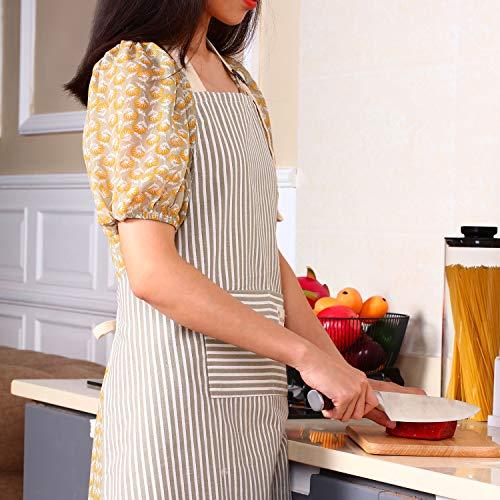 2 Pieces Cotton Linen Cooking Apron Adjustable Kitchen Apron Soft Chef Apron with Pocket for Women and Men 6