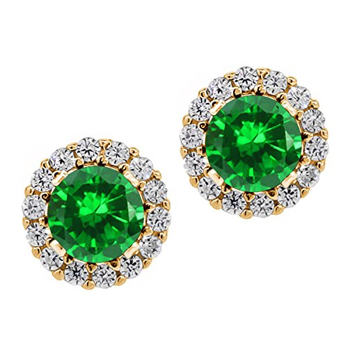 Gem Stone King 2.07 Ct Round Green Simulated Emerald Yellow Gold Plated Silver Studs with - Jacket Emerald Womens