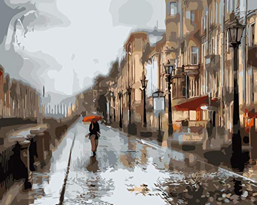 (DIY Oil Painting, Paint by Number Kit Rainy Streets of Moscow 16
