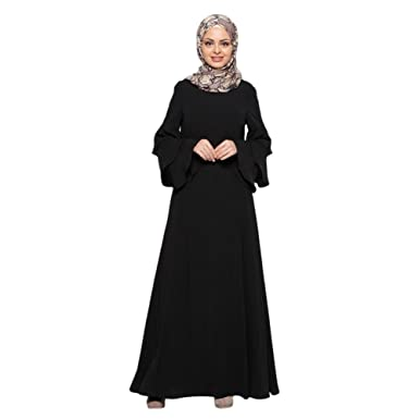 Zhuhaixmy Muslim Malaysia Women Long Sleeve Kaftan Islamic Middle East Arab Turkey Apparel Maxi Dress Abaya