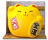 Maneki Neko Feng Shui Lucky yellow cat for good fortune in finance