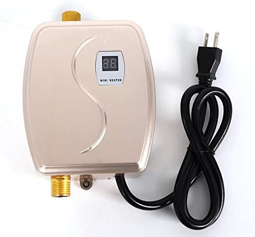 Tankless Electric Water Heater, 110V 3800W Mini Instant Thermostatic Hot Water Heater for Bathroom Kitchen Washing Faucet Sin