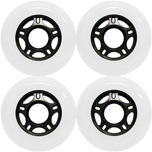 White Outdoor Rollerblade Wheels 72mm 82A Inline Skate Wheel 4-Pack