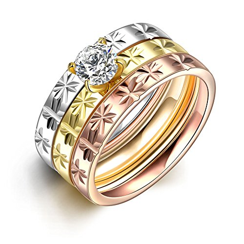 Retop Jewelry Three-piece 18K Gold Plated Wedding Rings Engagement Rings LKN033 (9)