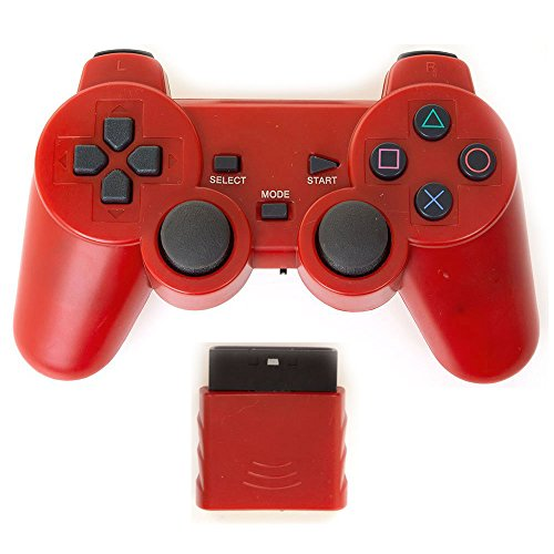 Bowink Wireless Gaming Controller for Ps2 Double Shock - Solid Red