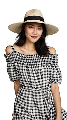 Hat Attack Women's Fine Braid Inset Continental Hat, Natural/Black, One Size by Hat Attack (Image #1)