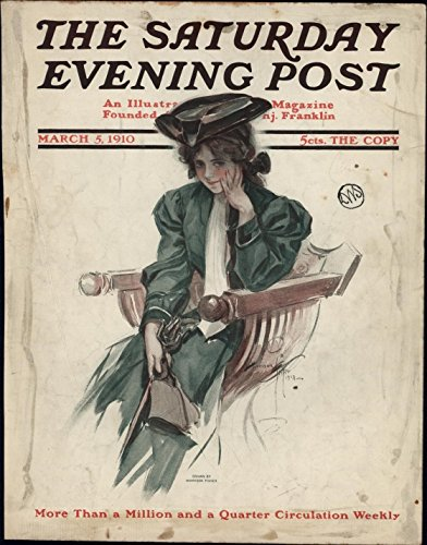 Elegant woman green dress Saturday Evening Post 1910 Harrison Fisher color cover