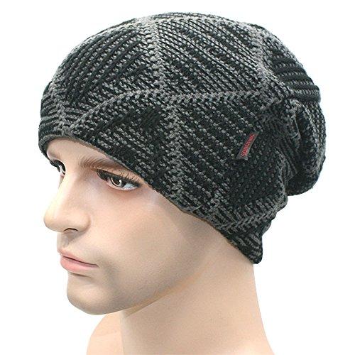 lana Hat Slouchy de libre Khaki Hombres Knit Beanies suave de oído al protección de invierno Hat aire Negro caliente gruesas n0Oq4T
