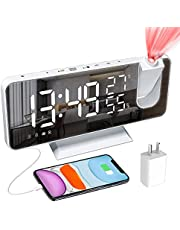 """Goldmeet Projection Alarm Clock, 7.3"""" LED Digital Clock with USB Charger, Mirror Surface, 180° Rotatable, Dual Alarms, FM Radio, Temperature and Humidity, 12/24h, Bedroom Desktop Clock (White)"""