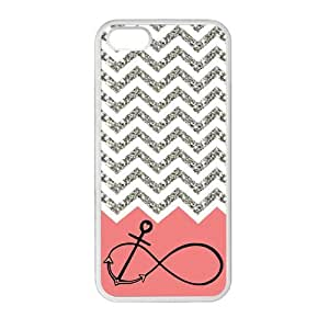 Gray Chevron Splicing Pink Background Anchor Infinite White Stylish Cover Case For Iphone 5 and 5S with high-quality Plastic