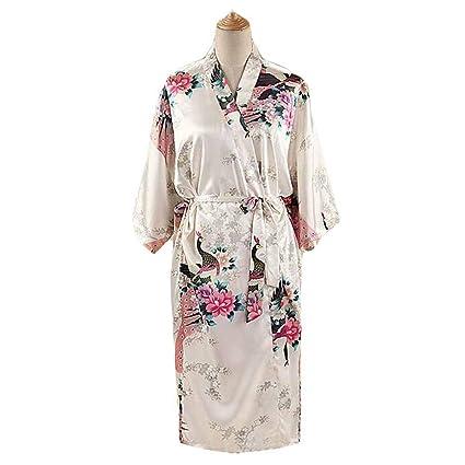 Blanco - Pavo Real/Flores Albornoz Largo de Mujer Bata de Kimono Pijamas de Seda