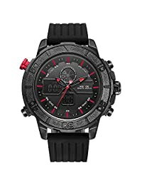 WEIDE Men's Sport Military Analogue Digital Quartz Rubber Watch with Dual Time Auto Date (Red)
