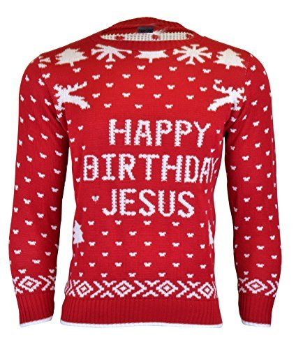 Mens Unisex Novelty Christmas Knitwear Sweater Jumper (Birth Day Red, L) (Cheap Christmas Jumpers Uk)