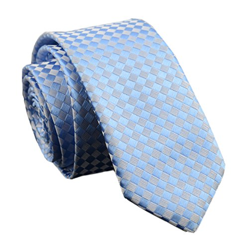 Blue Tonal Silk Tie (Men Modern Light Blue Jacquard Woven Silk Tie Summer Wedding Necktie for Groomen)