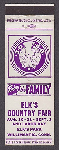 BPOE Elks Country Fair Elk's Park Willimantic CT matchcover