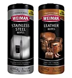 Weiman Stainless Steel Wipes and Leather Wipes - Non Toxic Clean and Polish Appliances for a Brighter and Longer Shine - Clean, Condition and Restore Leather Surfaces- 30 Count (One Each)