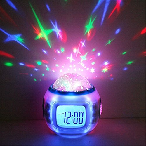 MAZIMARK--Kids Music LED Star Sky Projection Lamp Digital Alarm Clock Calendar Thermometer by MAZIMARK
