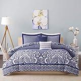 moroccan themed bedroom D&H 5 Piece Navy Blue Medallion Comforter Full Queen Set, Dark Blue Bohemian Themed Floral Moroccan Mandala Pattern, Geometric Design Reversible Large Motif Adult Bedding Master Bedroom, Polyester