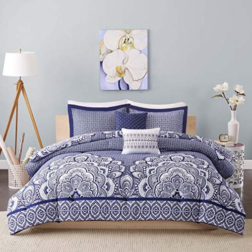 D&H 5 Piece Navy Blue Medallion Comforter Full Queen Set, Dark Blue Bohemian Themed Floral Moroccan Mandala Pattern, Geometric Design Reversible Large Motif Adult Bedding Master Bedroom, Polyester