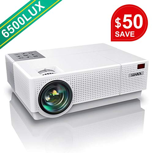 Projector, YABER Native 1920x 1080P Projector 6500 Lumens Full HD Video Projector, ±45° 4D Keystone Correction,LCD LED Home & Outdoor Projector Compatible with Smartphone,PC,TV Box,PS4