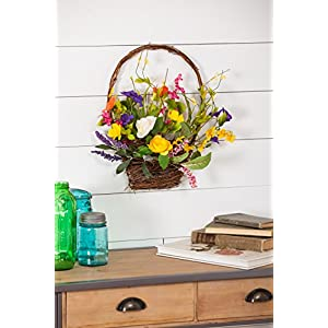 Cypress Home Spring Floral Wall Basket 2