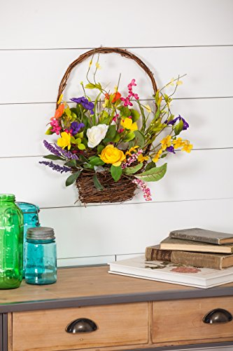 Cypress Home Spring Floral Wall Basket
