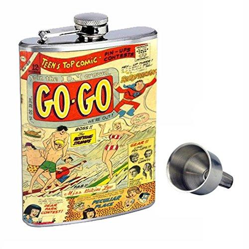 一流の品質 go-go ' 60sビキニポップComic Perfection inスタイル8オンスステンレススチールWhiskey Flask with with Free d-408 Funnel Flask d-408 B015QLFUZW, ヤベムラ:7ee22ea5 --- sww.zlatarezerva.cz