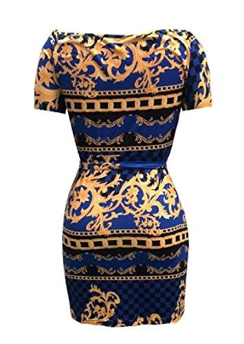 Coolred-femmes Sexy Ceinture Commuer Floral V-cou À Manches Courtes Impression Numérique Imprimé Maigre Mi-taille Des Robes Mi Bleu