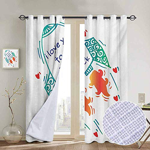 Print Curtains for Bedroom Curtain I Love You,Cute Rocket Going to Space Galactic Motivation Up to Stars Happiness Print,Orange Turquoise,Grommet Window Treatment Set for Living Room 100