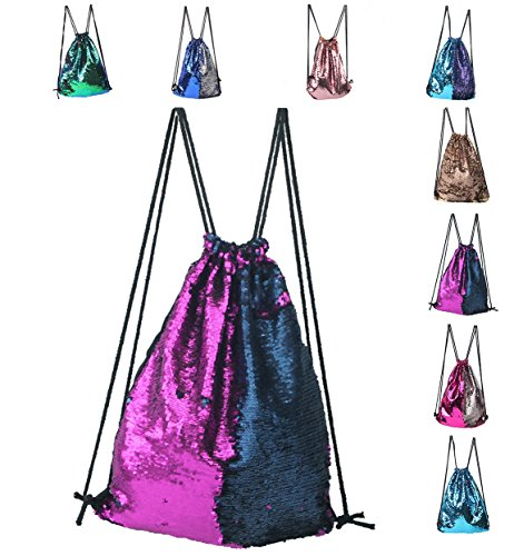 Sequin Drawstring Backpack,Drawstring Backpack Sequins Mermaid Magical Color Changing Gym Sport Bag