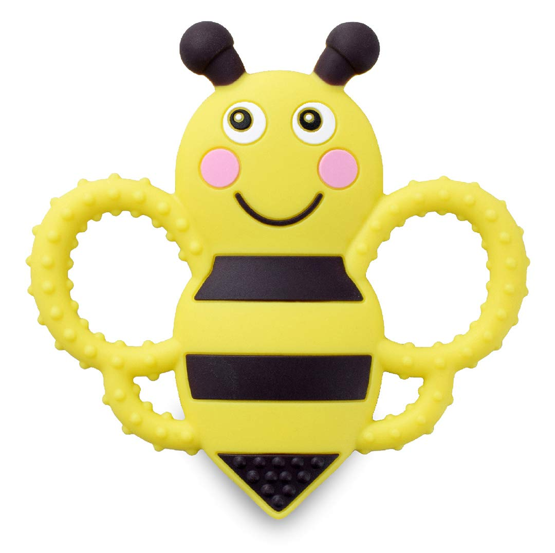 sweetbee Buzzy Bee Multi-Textured, Soft & Soothing, Easy-Hold, Silicone Teether Toy (BPA Free, Freezer & Dishwasher Safe…
