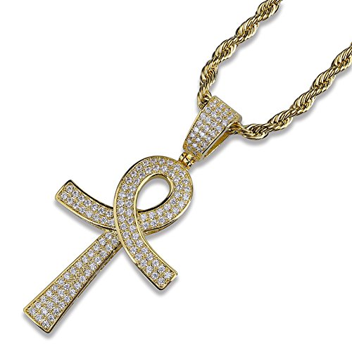 MCSAYS Hip Hop Jewelry Zirconia Bling Ankh Cross Life Key Pendant Gold Plated Necklace Fashion(Gold)