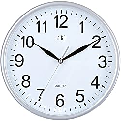 hito Silent Wall Clock Non Ticking 10 inch Excellent Accurate Sweep Movement Glass Cover, Modern Decorative for Kitchen, Living Room, Bathroom, Bedroom, Office, Classroom (Silver)
