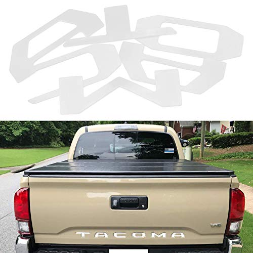 JDMTOY White Finish 3D 6pcs Tailgate Letter Inserts For 2016-up Toyota Tacoma (Made w/1.5mm Hard Plastic not A Paper Decal)