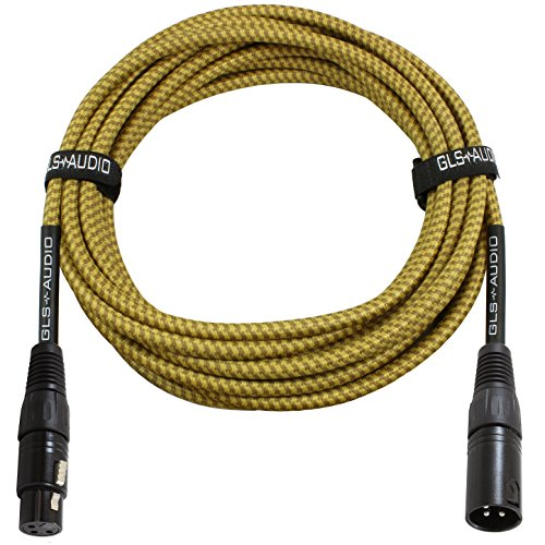 (GLS Audio 25 Foot Mic Cable Balanced XLR Patch Cords - XLR Male to XLR Female 25 FT Microphone Cables Brown Yellow Tweed Cloth Jacket - 25 Feet Mike Pro Snake Cord 25' XLR-M to XLR-F - SINGLE)