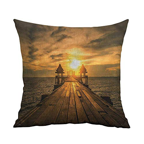 ArrDecor Nature Throw Pillow Cushion Cover,Beach,Wooden Dock Bangkok Bay,Yellow Throw Pillows for Couch,W 18