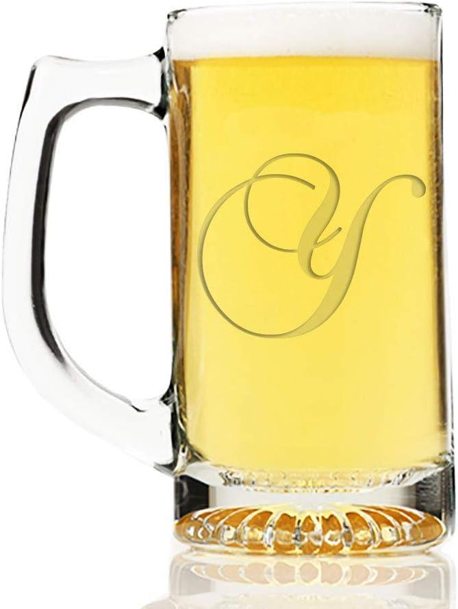 Intricate Script Letter A Engraved 13 oz Beer Mug