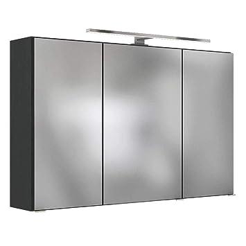 Pharao24 3D Badezimmer Spiegelschrank in Dunkel Grau LED Beleuchtung ...