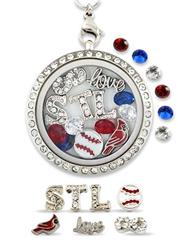 "(""Infinity Love St Louis"" Pro Baseball Floating Charm Living Memory Locket Magnetic Closure 30mm Stainless Steel Pendant Necklace)"