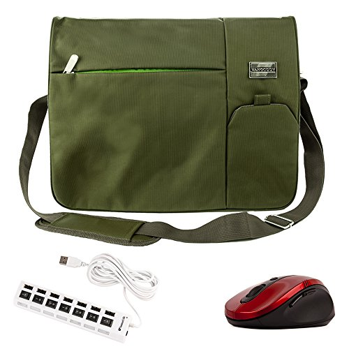 Italey Laptop Messenger & Shoulder Bag Design for 15.6 Inch MSI Laptop GT / GS63VR / Prestige Series Come with Wireless Mouse + USB 2.0 HUB 6' Cable (Olive (2 Green Cables Series)