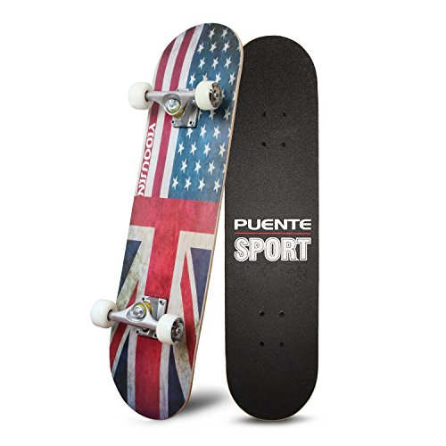 - PUENTE 31 Inch Complete Skateboard - 8 Layer Canadian Maple Wood Double Kick Concave Skateboards, Tricks Skate Board for Beginners and Pro