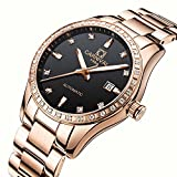 PASOY Women Elegant Automatic Rose Gold Watch black Dial Sapphire Crystal Date Mechanical Analog Watches